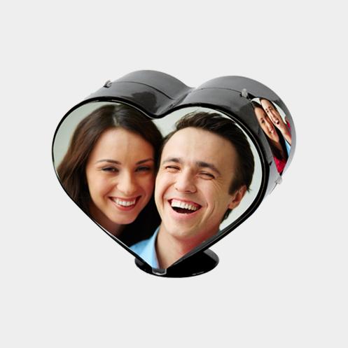 Rotating Heart Shape Photo Frame Color Black