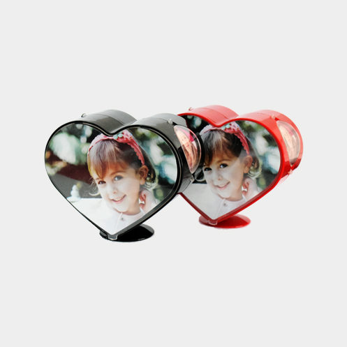 Rotating Heart Shape Photo Frame Color Red